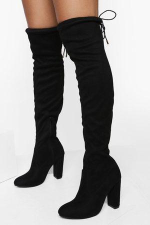 Boohoo Womens Block Heel Tie Over The Knee Boot - - 5