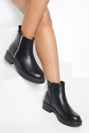 Boohoo Womens Wide Fit Pu Quilted Zip Detail Chelsea Boot - - 5