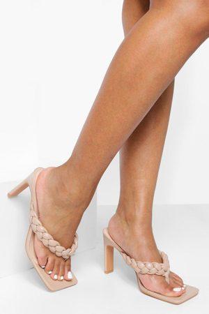 Boohoo Womens Wide Fit Square Toe Plaited Toe Post Mule - - 5