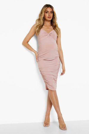 Boohoo Womens Maternity Twist Front Ruched Midi Dress - - 4