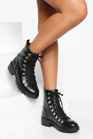Boohoo Womens Lace Up Metal Detail Hiker Boots - - 5