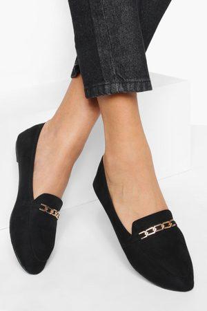 Boohoo Womens Link Chain Pointed Toe Flats - - 5