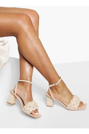 Boohoo Womens Chunky Plait Detail 2 Part Block Heels - - 5