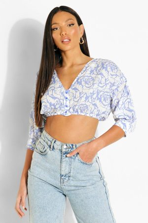 Boohoo Womens Tall Button Front Puff Sleeve Crop Top - - 2