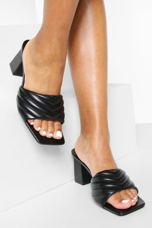 Boohoo Womens Wide Fit Padded Quilt Heeled Mules - - 5