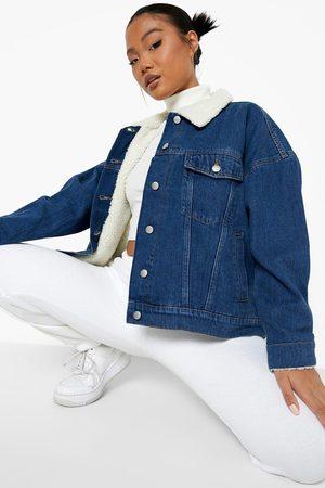 Boohoo Women Denim Jackets - Womens Petite Borg Lined Jean Jacket - - 2