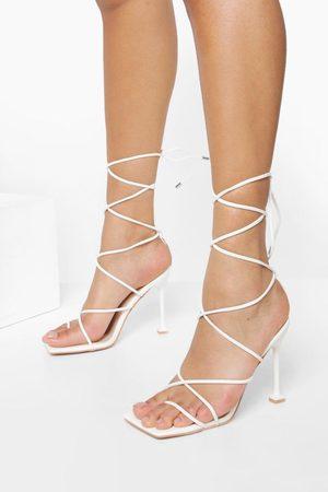 Boohoo Womens Square Toe Strappy Toe Post Heels - - 5