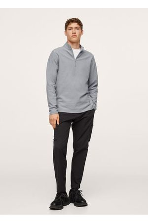 MANGO Cotton sweatshirt with zipper neck