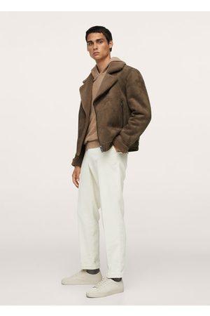 MANGO Faux shearling aviator jacket /pastel brown