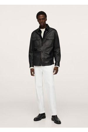MANGO Leather overshirt with pockets