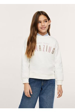 MANGO Crystals message cotton sweatshirt