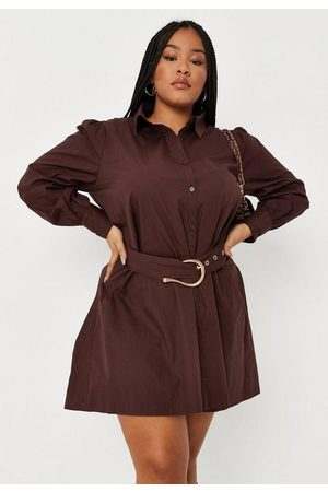 Missguided Women Casual Dresses - Plus Size Chocolate Buckle Belted Shirt Dress