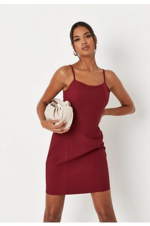 Missguided Women Bodycon Dresses - Tall Wine Seam Detail Cami Strap Bodycon Dress
