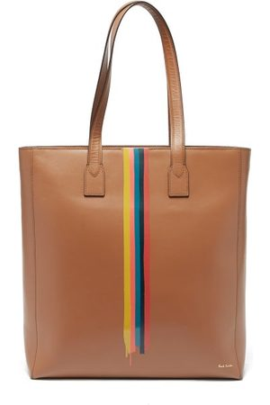Paul Smith Men Bags - Striped Leather-trim Recycled-canvas Tote Bag - Mens