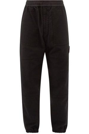 Stone Island Logo-patch Cotton-moleskin Track Pants - Mens
