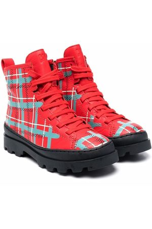 Camper Boys Ankle Boots - Brutus plaid ankle boots