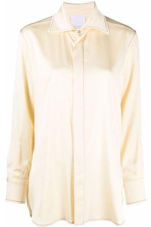 BEVZA Women Shirts - Longline satin shirt - Neutrals