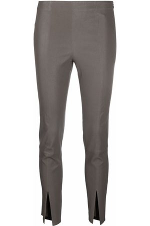 THEORY Women Leather Pants - Cropped slit-cuff leather trousers - Grey