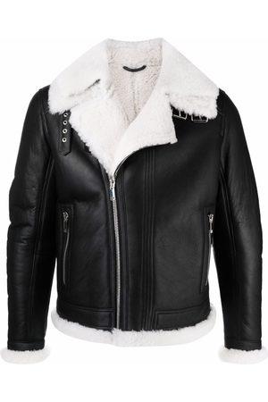 Les Hommes Men Leather Jackets - Shearling-trimmed jacket