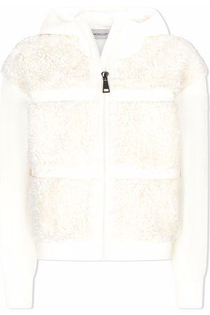 Moncler Faux-shearling panelled hoodie
