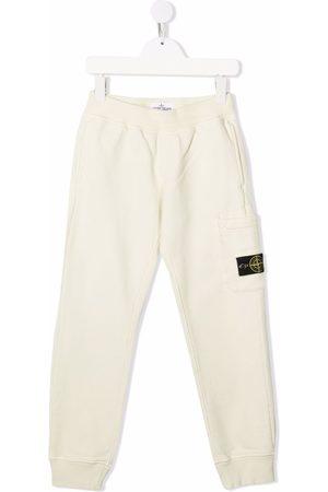 Stone Island Logo-patch cotton track pants - Neutrals