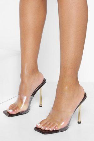 Boohoo Womens Gold Heel Clear Heeled Mules - - 5