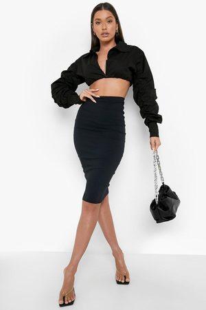 Boohoo Womens Woven Midi Tube Skirt - - 2