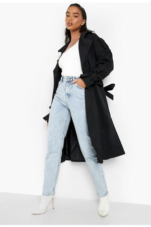 Boohoo Womens Tie Cuff Double Breasted Trench Coat - - 4