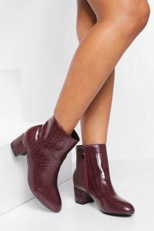 Boohoo Womens Low Block Heel Croc Shoe Boot - - 5