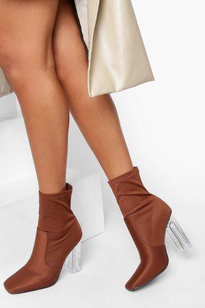 Boohoo Womens Clear Heel Pointed Sock Boot - - 5