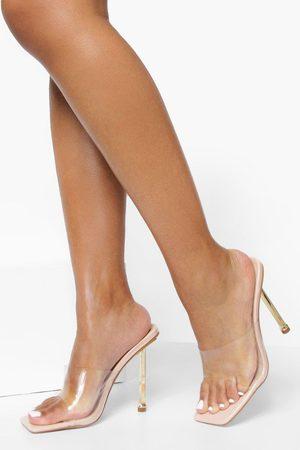 Boohoo Women Heels - Womens Gold Heel Clear Heeled Mules - - 5