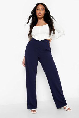 Boohoo Womens Plus O Ring Detail Wide Leg Trouser - - 12
