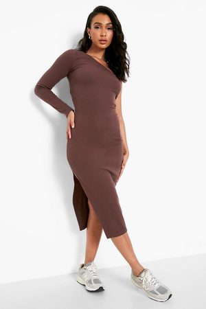 Boohoo Womens Premium Rib One Shoulder Midaxi Dress - - 4