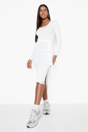 Boohoo Women Midi Dresses - Womens Recycled Rib Belted Midi Dress - - 2