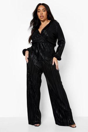 Boohoo Womens Plus Metallic Slim Wide Leg Trouser - - 12