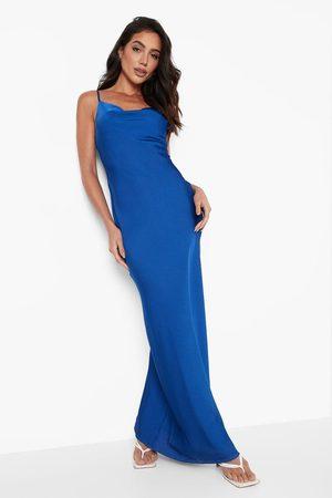 Boohoo Womens Satin Cowl Neck Button Up Slip Dress - - S