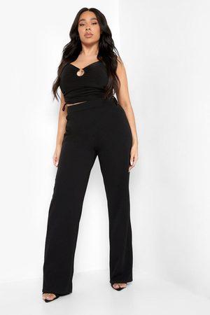 Boohoo Women Wide Leg Pants - Womens Plus O Ring Detail Wide Leg Trouser - - 12