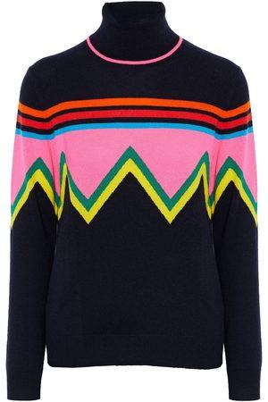 Chinti & Parker Women Turtlenecks - Woman Intarsia Wool And Cashmere-blend Turtleneck Sweater Navy Size L