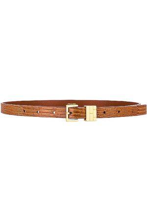 Frame Women Belts - Petit Square Buckle Plaque Belt in Tan.