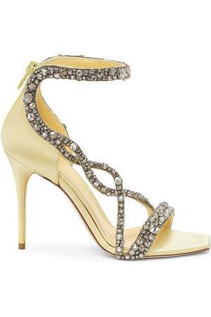 Alexander McQueen Women Heeled Sandals - Crystal-Embellished Satin High-Heel Sandals
