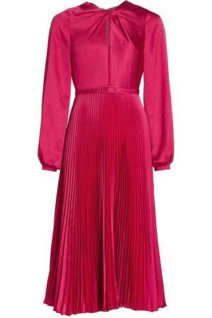 Ml Monique Lhuillier Pleated Satin Midi Dress