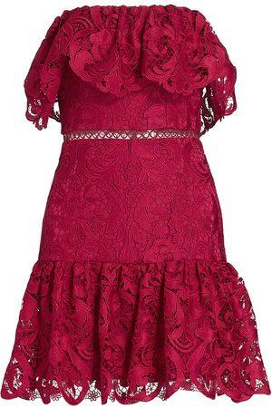 ML Monique Lhuillier Women Strapless Dresses - Lace Ruffled Strapless Minidress