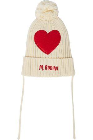 Mini Rodini Hearts ribbed-knit cotton beanie
