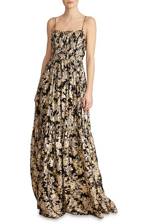 Ml Monique Lhuillier Floral Print Chiffon Gown