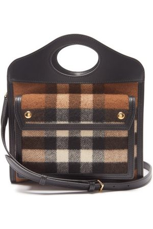 Burberry Checked Cashmere And Leather Cross-body Bag - Womens - Multi
