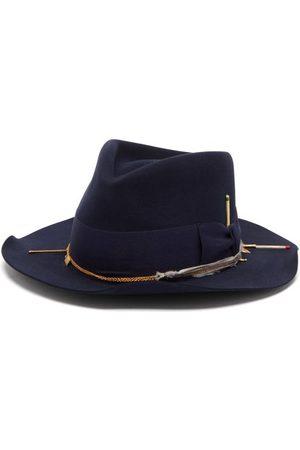 NICK FOUQUET Terrel Bow-tied Felt Fedora Hat - Mens - Navy