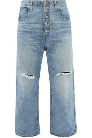 JUNYA WATANABE Distressed Cropped Wide-leg Jeans - Womens - Mid Denim
