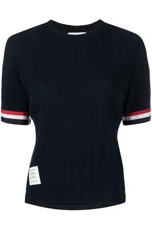 Thom Browne Women Short Sleeve - SHORT SLEEVE TEE W/ RWB GROSGRAIN CUFF IN HIGH TWIST VARIEGATED RIB