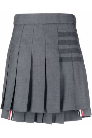 Thom Browne Women Mini Skirts - 4-Bar pleated mini skirt - Grey