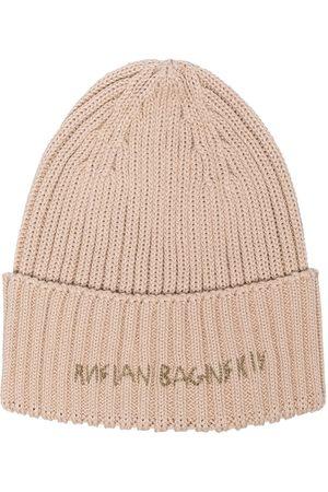 Ruslan Baginskiy Women Beanies - Logo-print ribbed-knit beanie - Neutrals